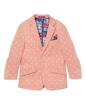 JAMES MORGAN Boys Formal Blazer with Woven Pink Ivory Flower Pattern