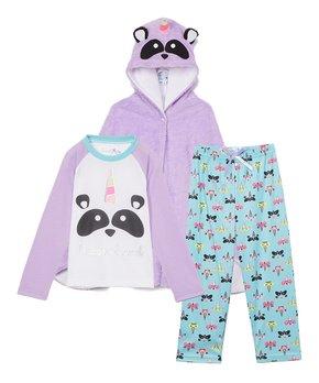 dELiA*s Girls Donut Worry Mint Plush Fleece Long Sleeve Hooded One-Piece Pajamas