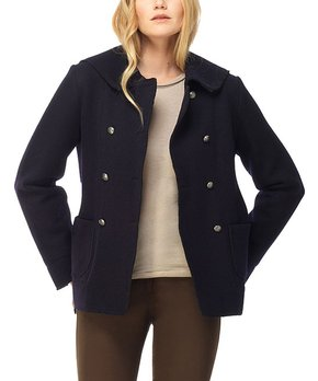 ZICUE Womens Double Breasted Pea Coat Spring Mid-Long Long Sleeve Outwear with Hood