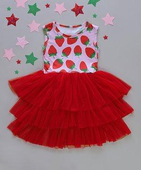2c9f6aaf4 Whitney Elizabeth   Pink & Red Strawberry Three-Tier Tutu Dress - Inf…