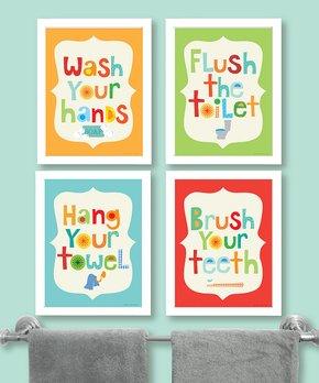 Ellen Crimi-Trent | Bathroom Rules Print - Set of Four