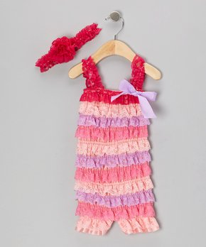 5e8eed664838 all gone. Red   Pink Lace Ruffle Romper   Headband ...