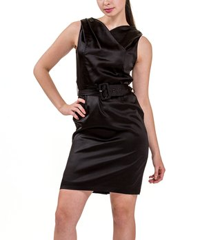 2ed678f74b57 all gone. Amelia | Black Satin Belted Dress