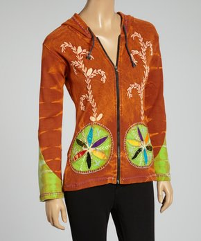 97183bc3bbfc7 Royal Handicrafts | Orange Tie-Dye Embroidered Hooded Zip-Up Jacket -…