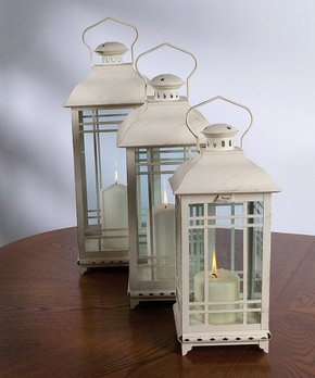 Melrose | White Rustic Lantern - Set of Three