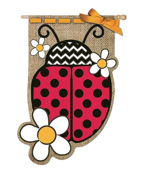 Evergreen   Daisy & Ladybug Burlap Outdoor Flag