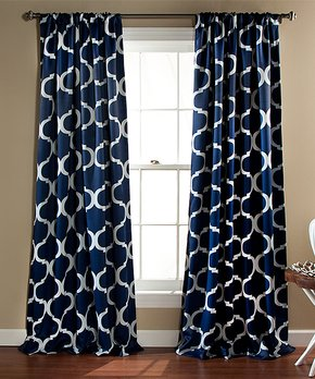 Lush Décor | Navy Anchor Room-Darkening Curtain Panel - Set of Two