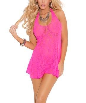 cbe1d9c912d8d Neon Pink Lace Halter Chemise - Women   Plus