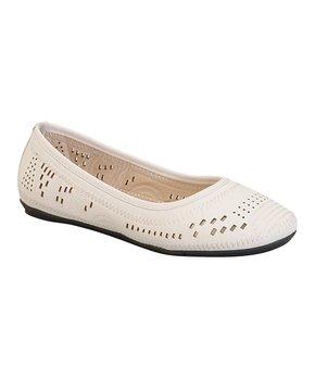 Belladia | White Vera Ballet Flat - Girls