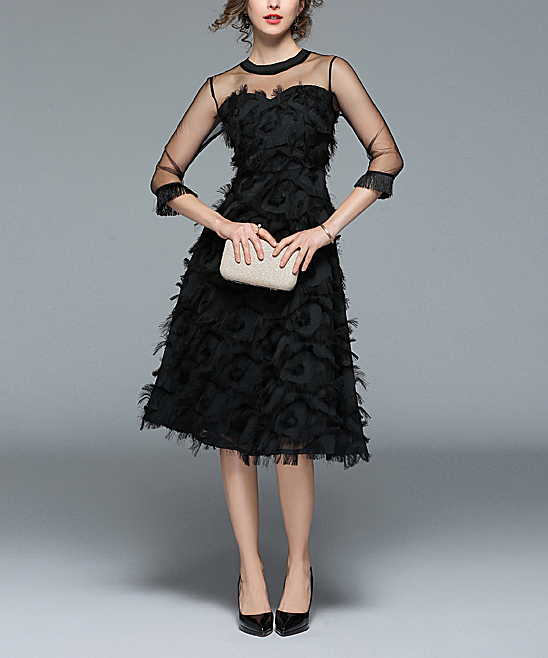 a4fc7f5a3938c ... Womens Black Black Feather Midi Dress - Alternate Image 2 ...