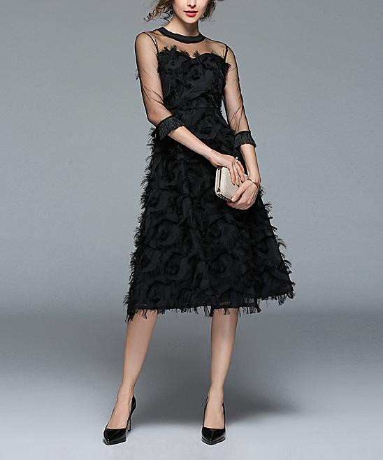 187432919817c ... Womens Black Black Feather Midi Dress - Alternate Image 3 ...