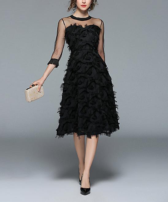 Coeur De Vague Black Feather Midi Dress Women Zulily