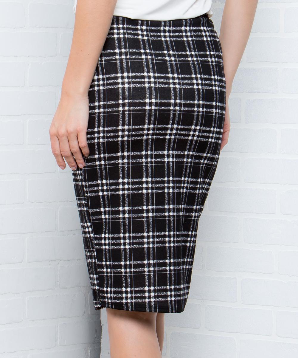 27be94e12 ... Womens BLACK Black Plaid Pencil Skirt - Alternate Image 3
