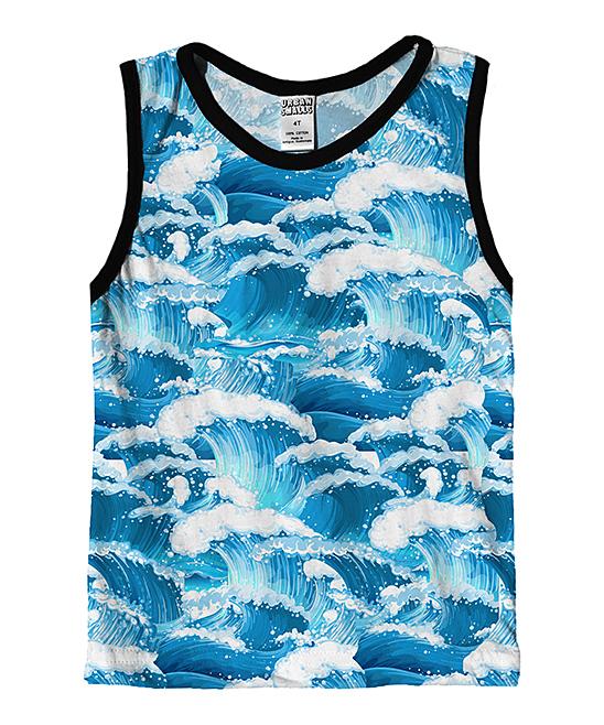 Blue & White & Black Ocean Waves Muscle Tank - Toddler & Boys