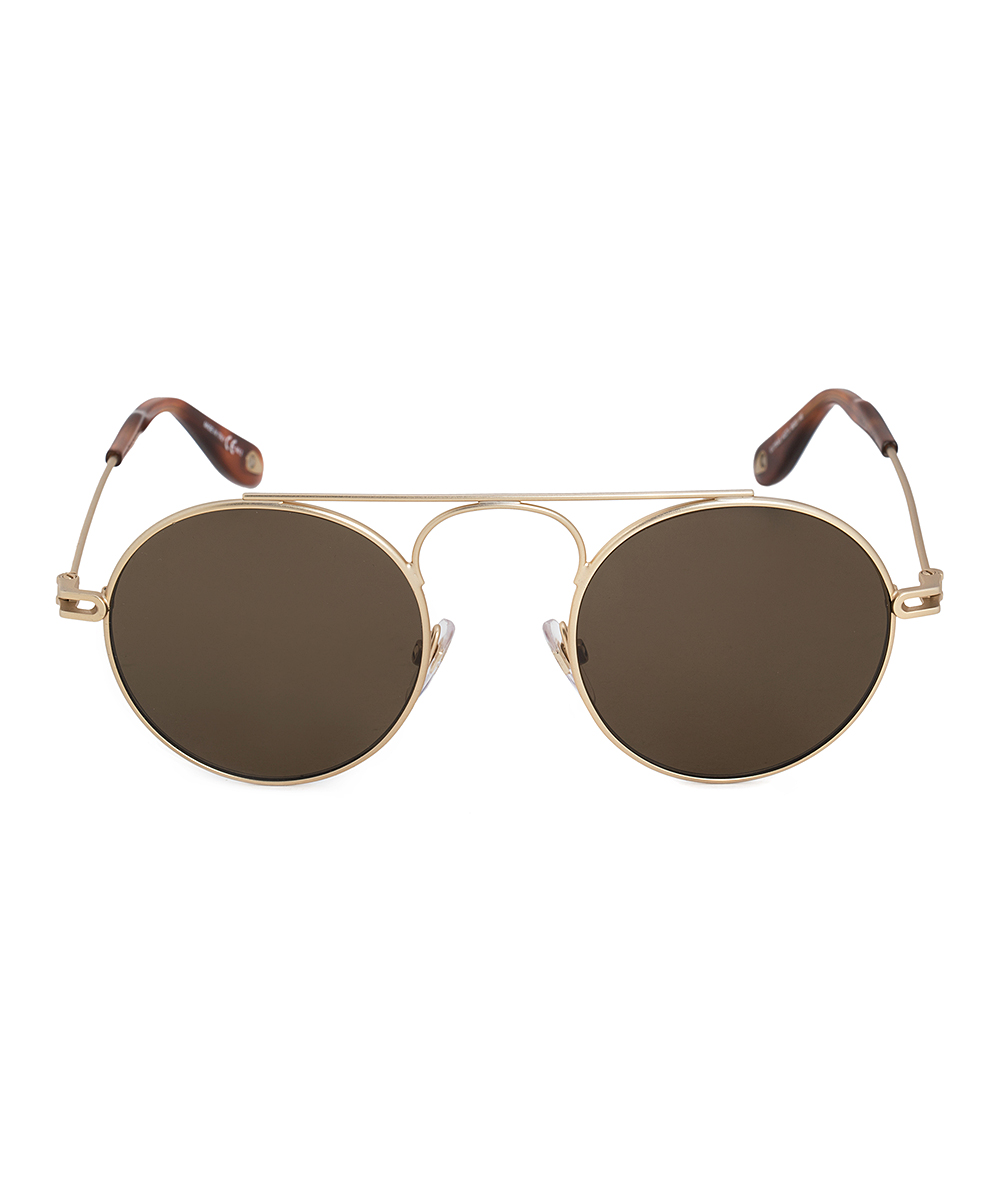 e6d22fac171af ... Womens Brown Brown   Gold Round Modified Aviator Sunglasses - Alternate  Image ...