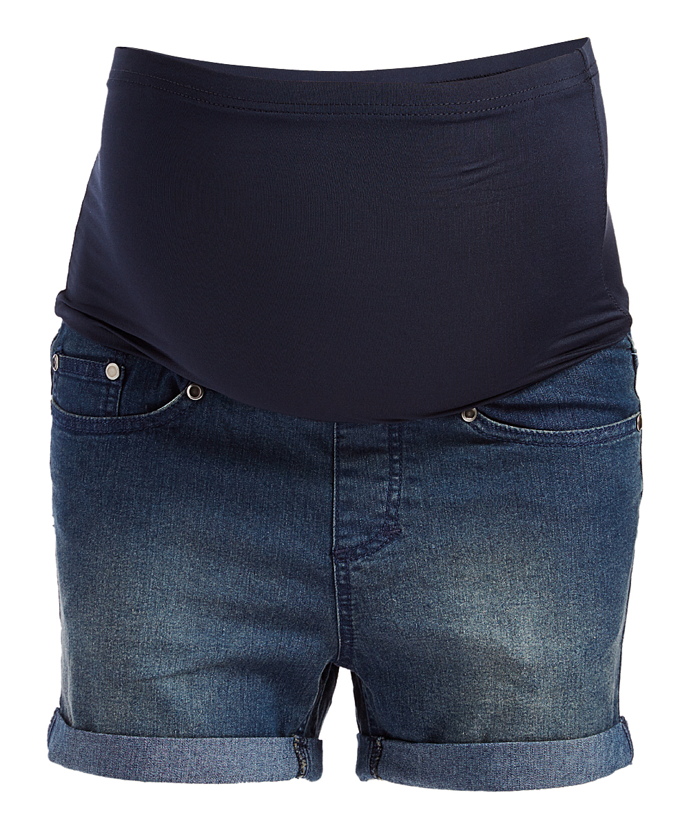 fbecfe16ef837 Times 2 Medium Wash Over-Belly Maternity Jean Shorts | Zulily