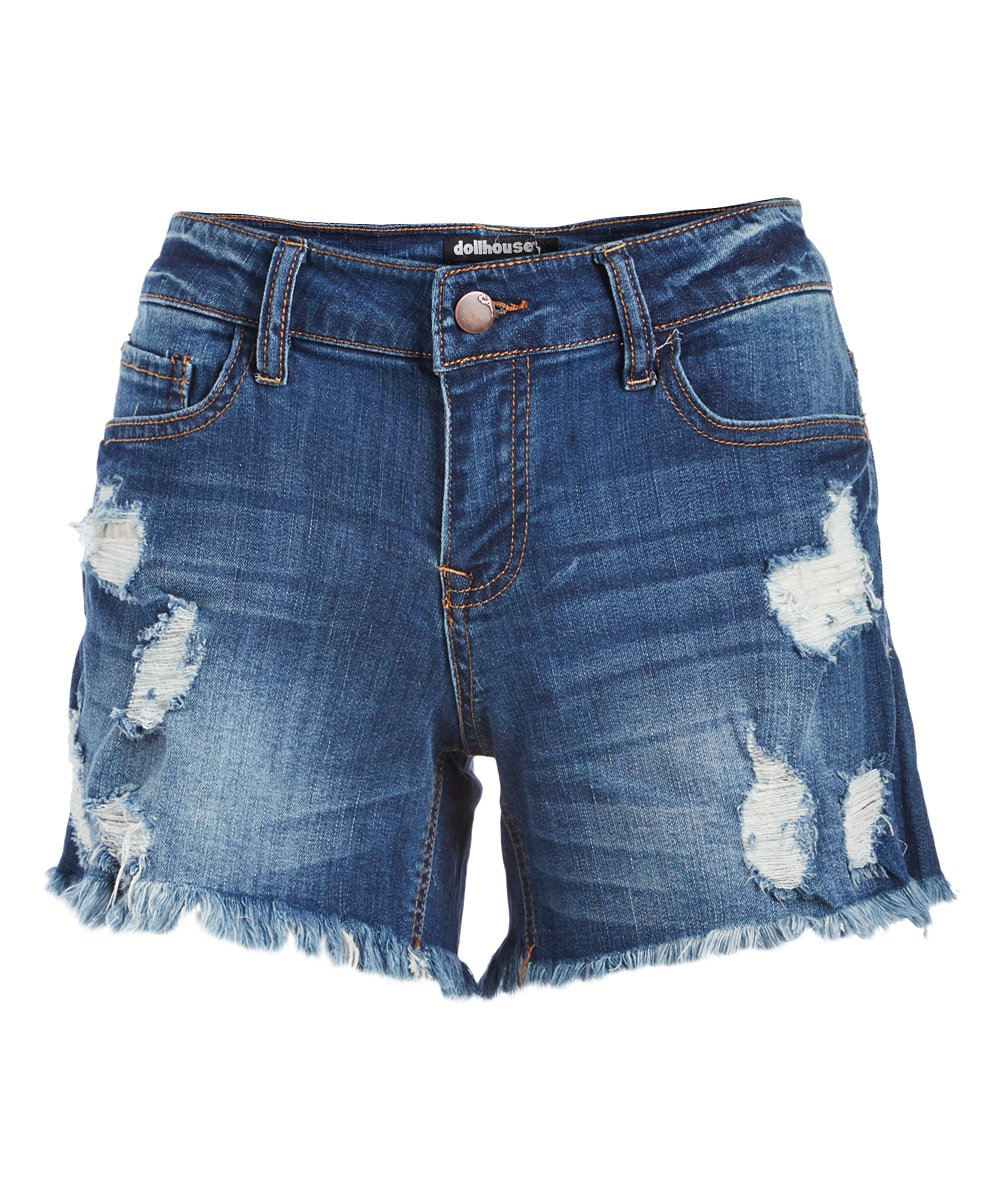 Summer Night Distressed Denim Cutoff Shorts - Juniors Summer Night Distressed Denim Cutoff Shorts - Juniors. Up your denim game with these distressed shorts that bring a hint of edge to your everyday styling with their lived-in look.Size note: This item runs large. Ordering one size down is recommended.Size 5: 14'' long98% cotton / 2% spandexMachine wash; tumble dryImported