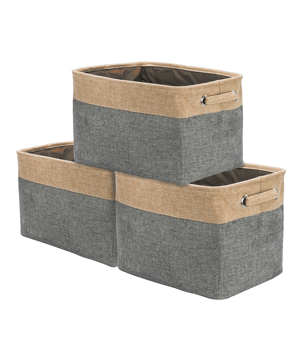 Sorbus Two Tone Collapsible Storage Bin   Set Of Three | Zulily