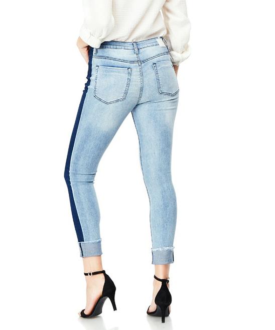 f9200964ebf9 Bloomrocks Light Blue Two-Tone Distressed Skinny Jeans - Women | Zulily