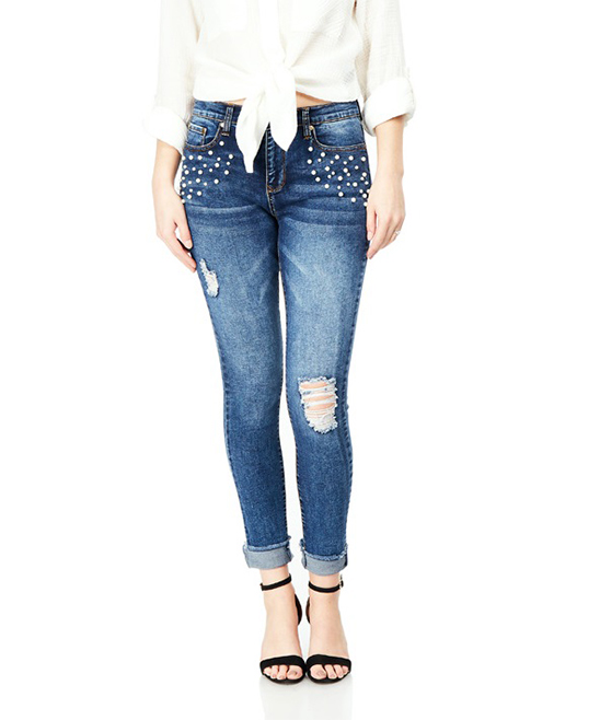 Bloomrocks Medium Blue Melrose Faux Pearl Cuff-Ankle Skinny Jeans ... 01a40ab648