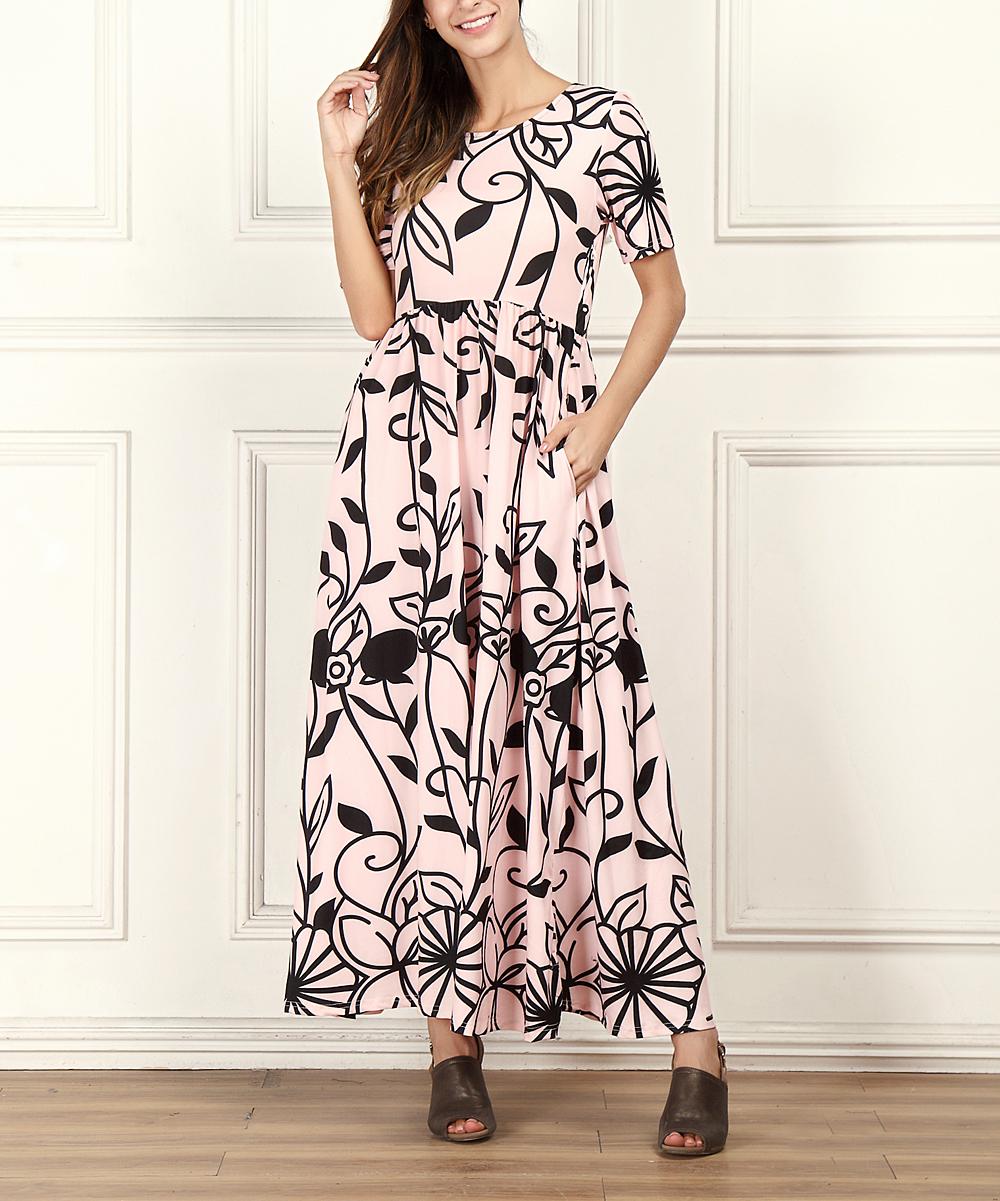 6f4ab96baf5 R B Pink   Black Floral Empire-Waist Maxi Dress - Women