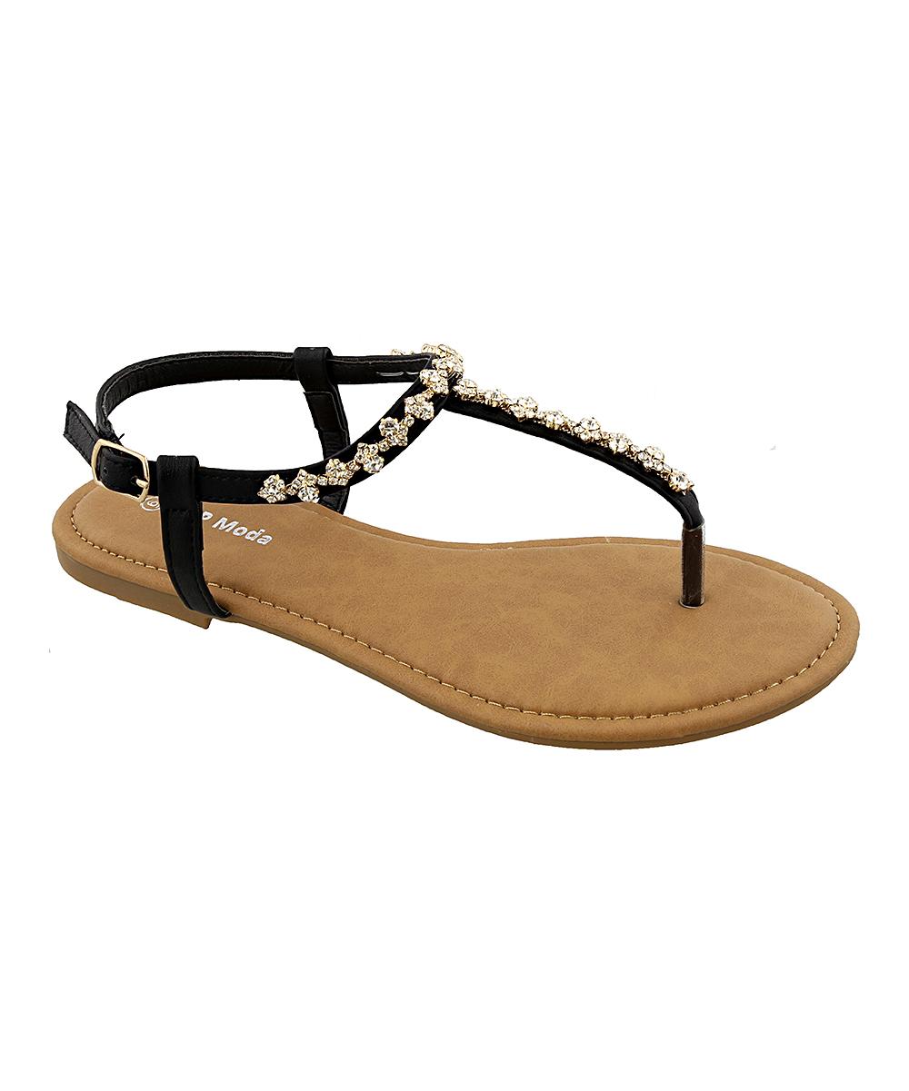 Black Hydra T-Strap Sandal