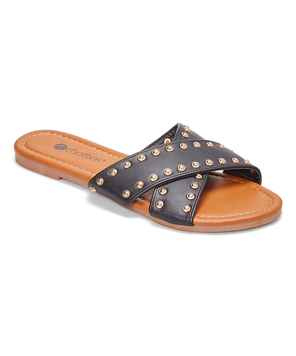 c0b682f095e Chatties Black   Gold Studded Crisscross Slide - Women