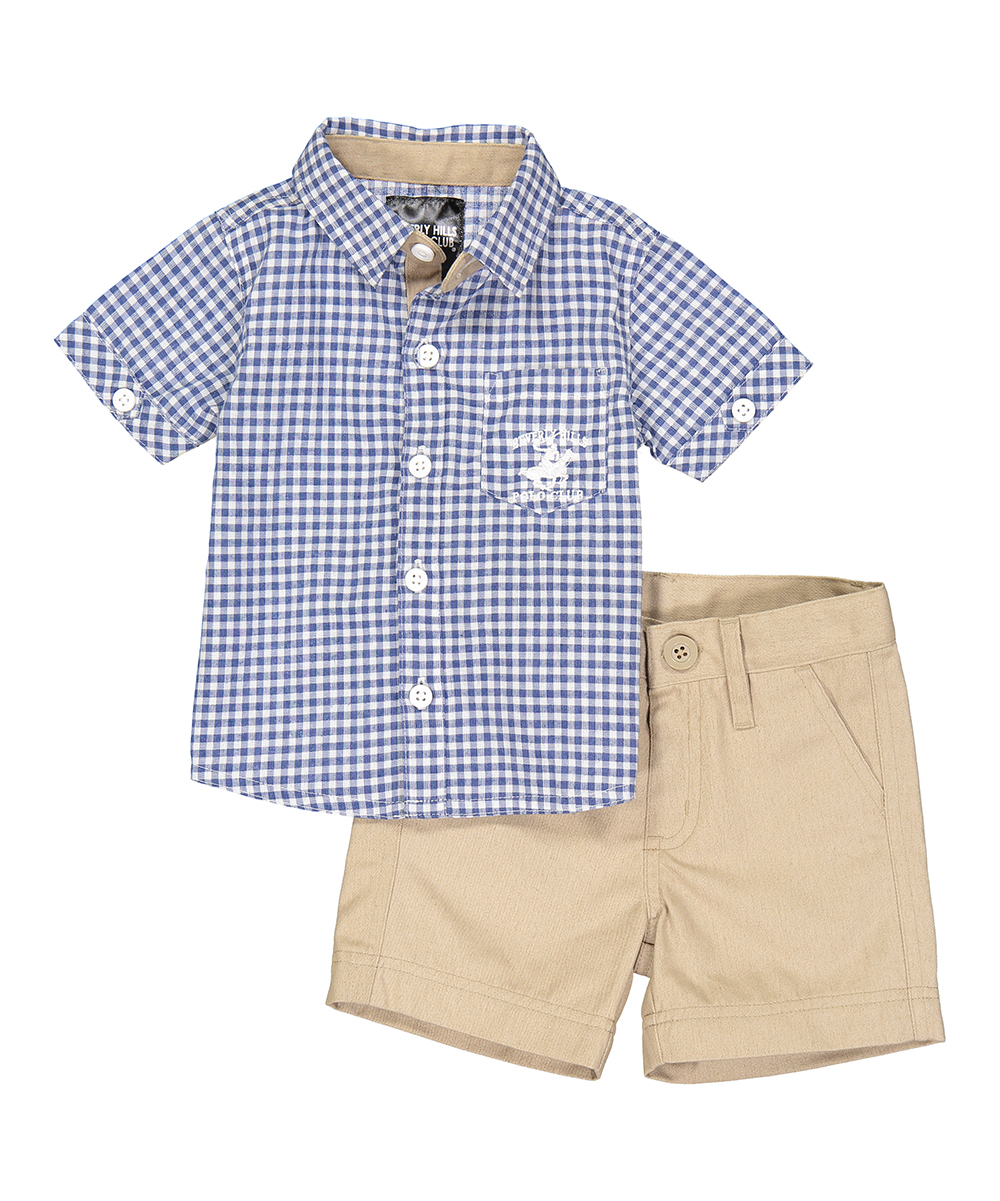 9e98b547 Beverly Hills Polo Club Blue Checkerboard Short-Sleeve Button-Up ...