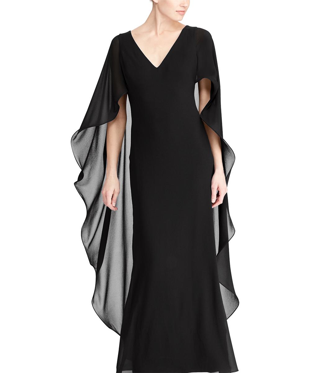 cc8a364b21 Lauren Ralph Lauren Black Ruffle Georgette Cape Gown - Women