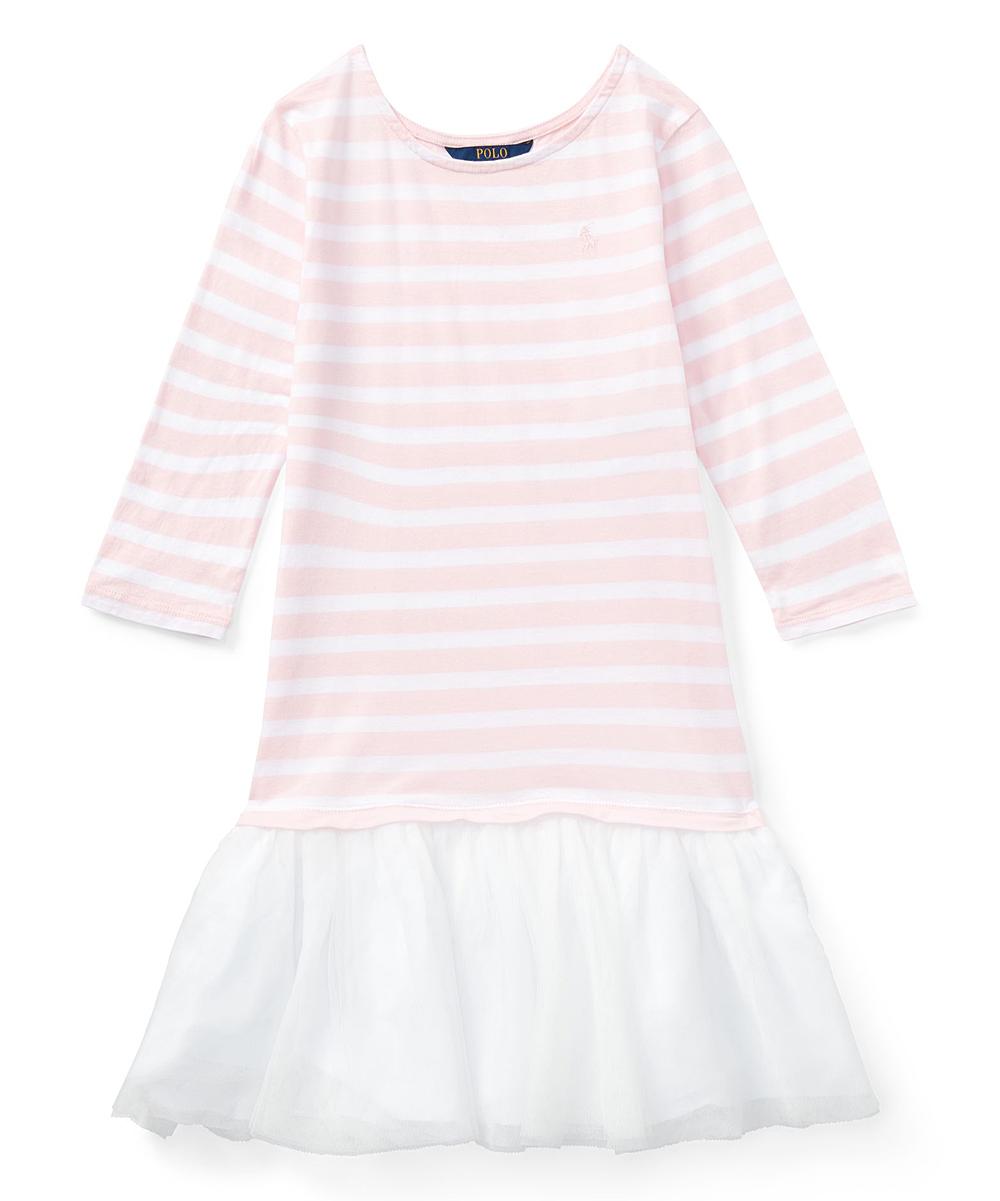 Dress Polo Shirt Ralph Girls T Hint Pinkamp; White Stripe Of Lauren Jersey Yf6gIy7bv