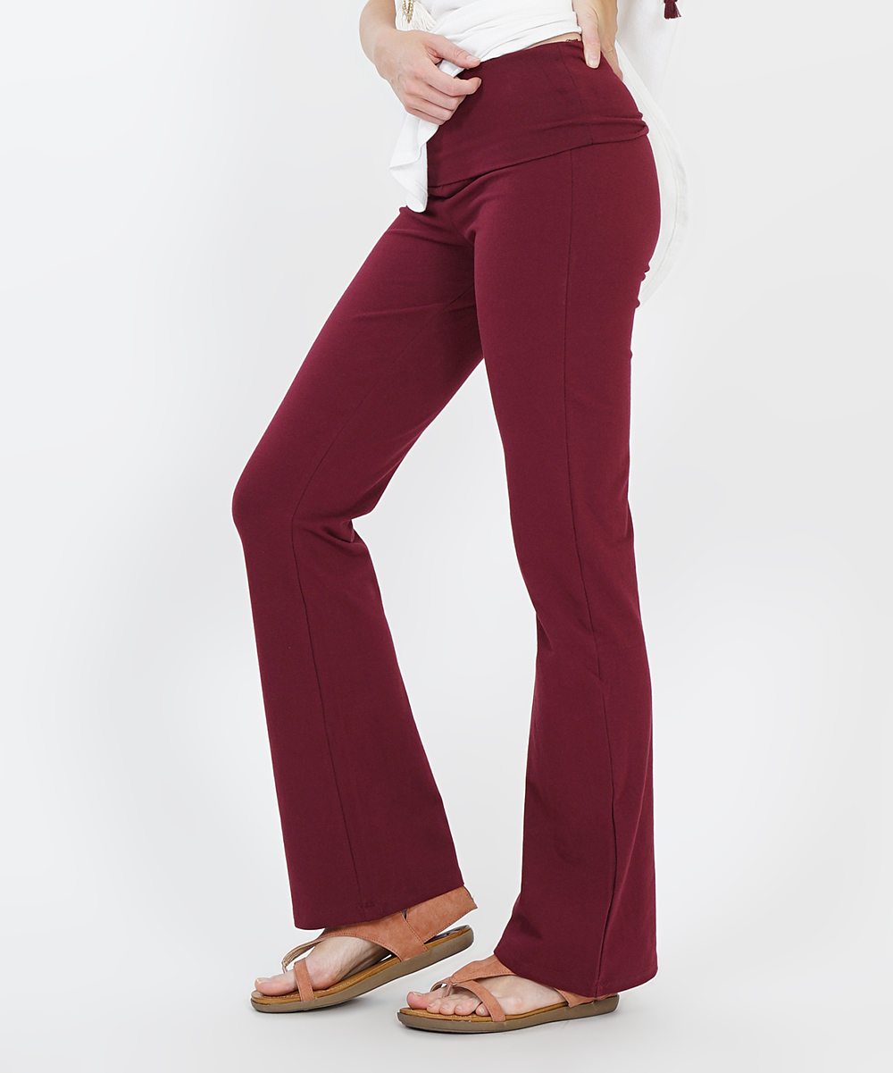 32f76cd7ca love this product Dark Burgundy Fold-Over Yoga Pants - Women & Plus
