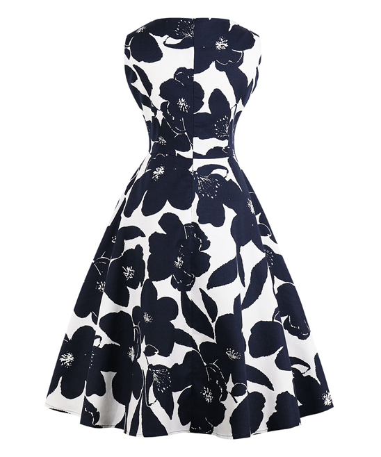 9b847382d453c ... Womens Navy White & Navy Large Floral Silhouette Tea-Length Vintage Fit  & Flare Dress ...