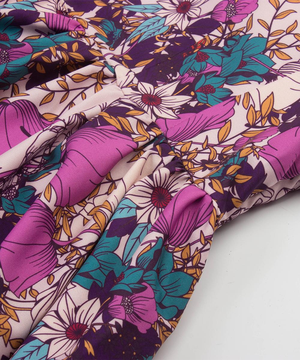 a5a04cbde9ff ... Womens Pink Pink & Purple Floral Butterfly Midi Dress - Alternate Image  ...