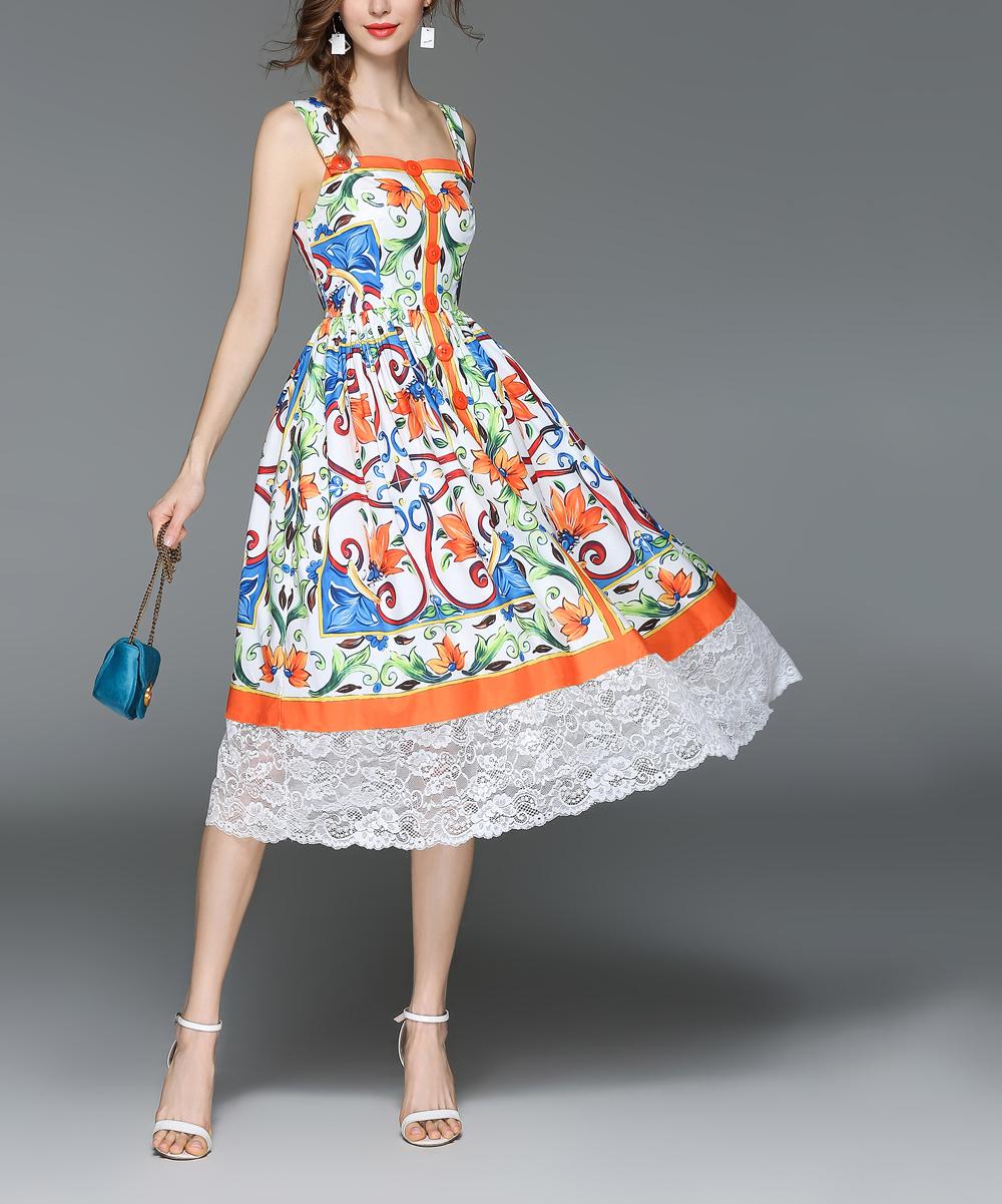 2436c4a054b all gone. Orange   Blue Geometric Floral Sleeveless Dress - Women · Womens  Multicolor Orange ...