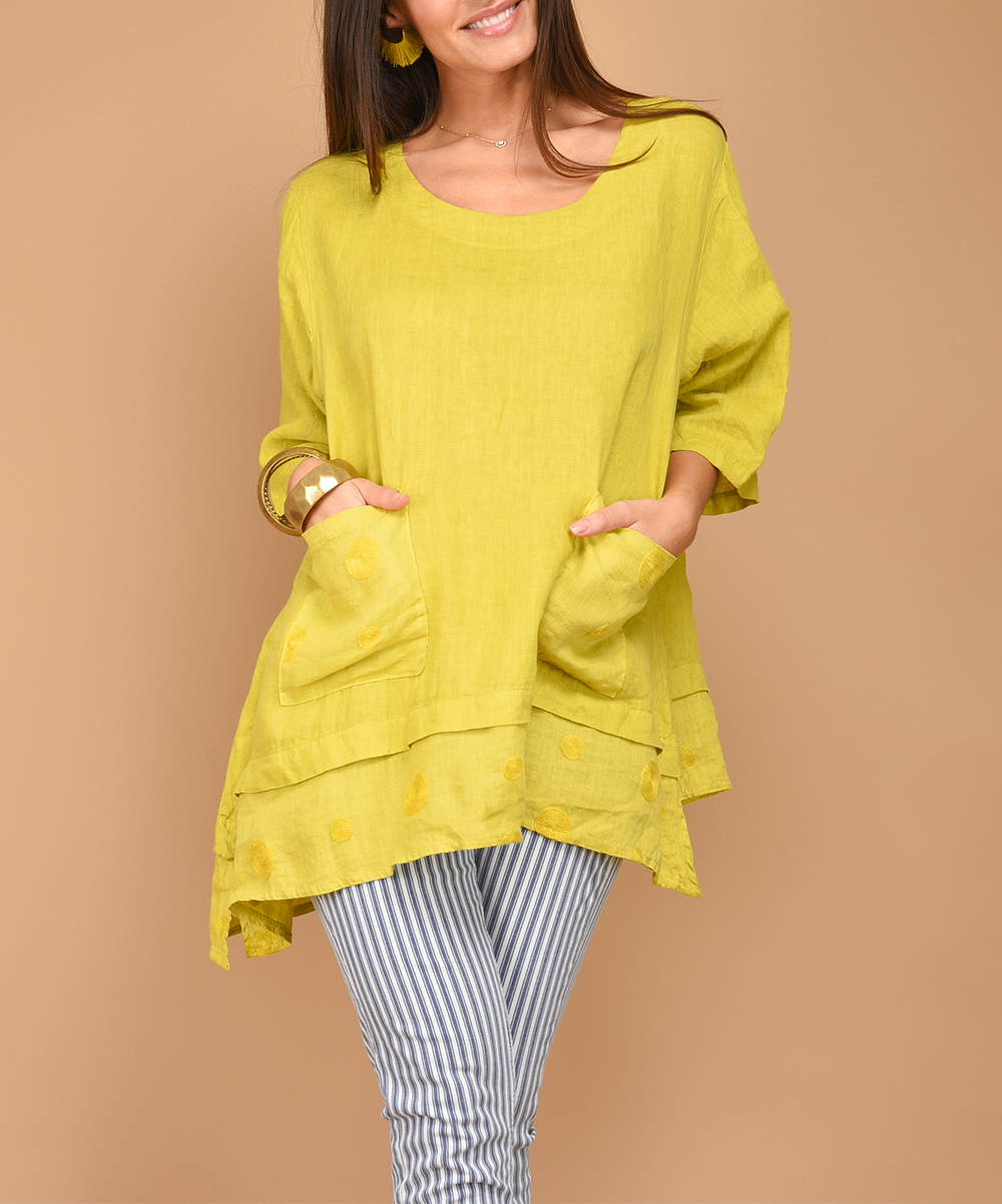4dacc79a0e5 100% LIN BLANC Yellow Embroidered-Accent Linen Tunic - Plus | Zulily