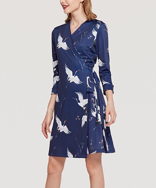 e33439a30660 Coeur de Vague Navy Crane Wrap Dress - Women | Zulily