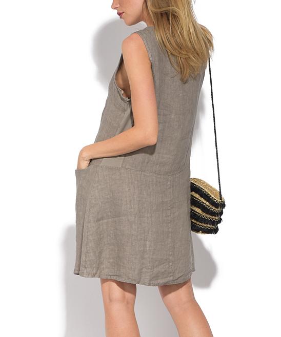 3a611f91894 ... Womens BROWN Brown Linen Sleeveless Shift Dress - Alternate Image 2 ...