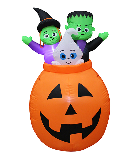BZB Goods  Outdoor Structures  - Pumpkin Basket Trio Inflatable Light-Up Lawn Decoration