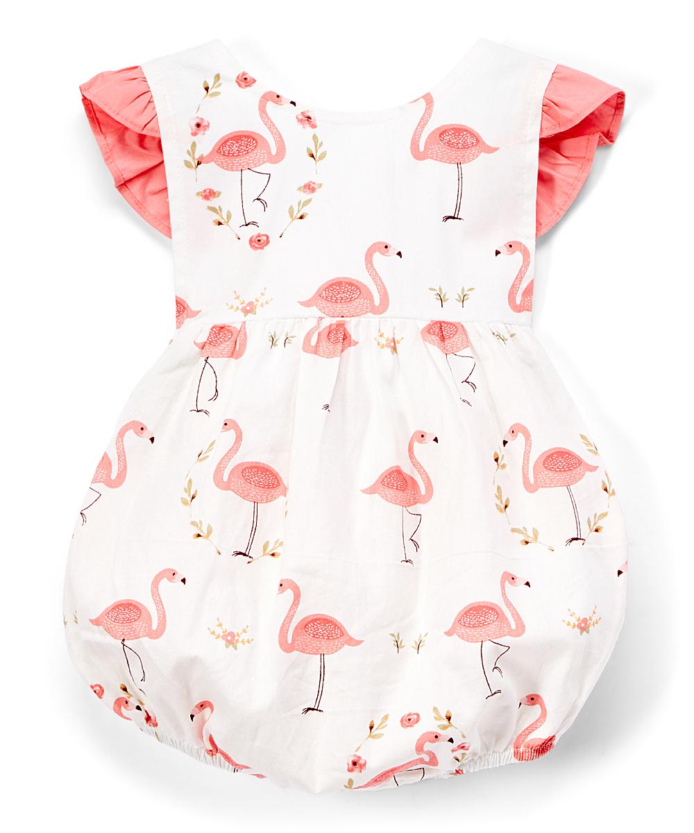 68f3149ea425 Lil Cactus White   Pink Flamingo Ruffle Bubble Bodysuit - Infant ...