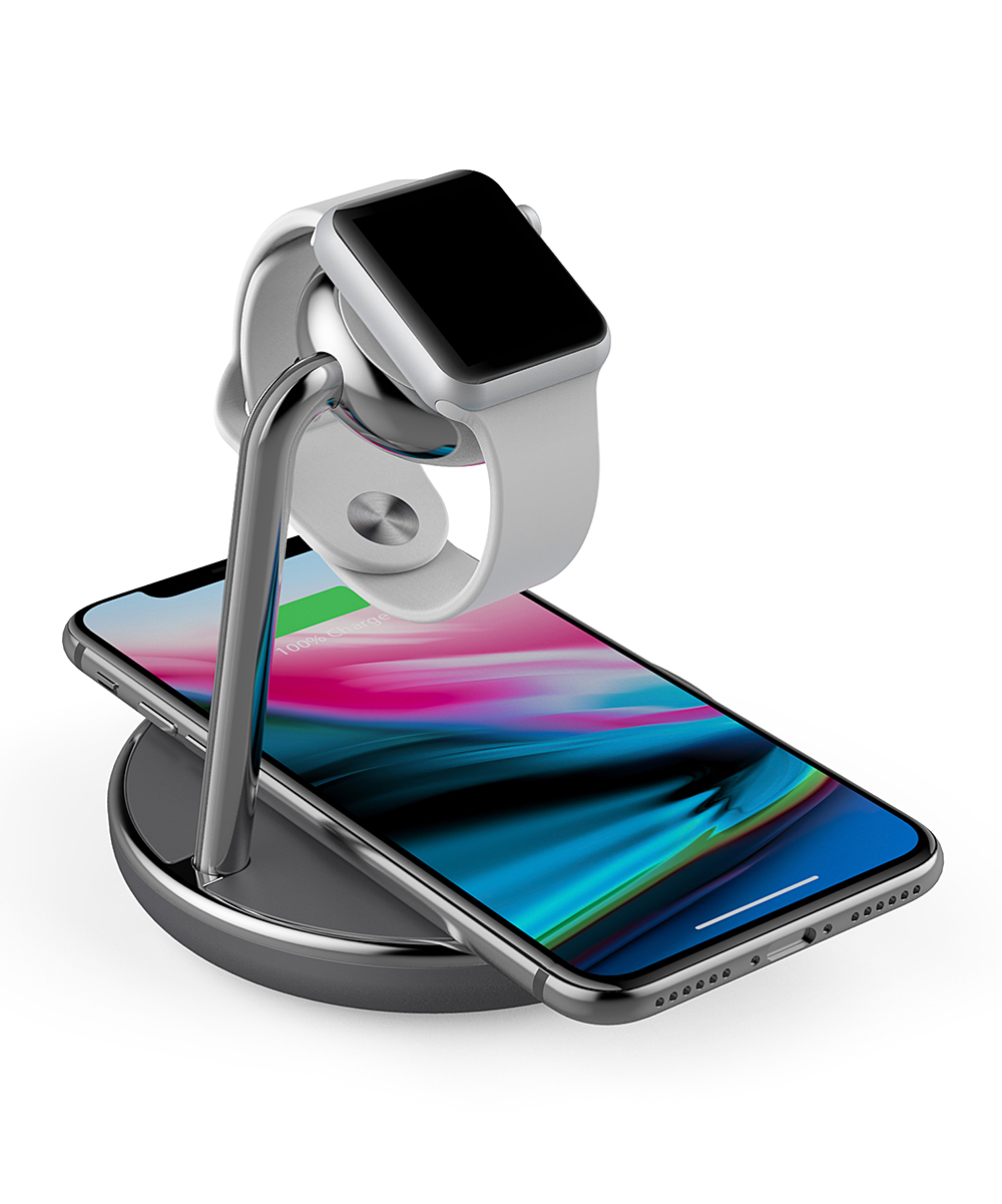 Smartphone & Watch Wireless Charger Smartphone & Watch Wireless Charger. Charge both your phone and your watch wirelessly with this sleek stand that keeps devices safely stored as the batteries fill up. Compatible with Apple Watch and Qi wireless charging enabled smartphonesOutput: wireless / USB portPlastic / aluminum alloyImported