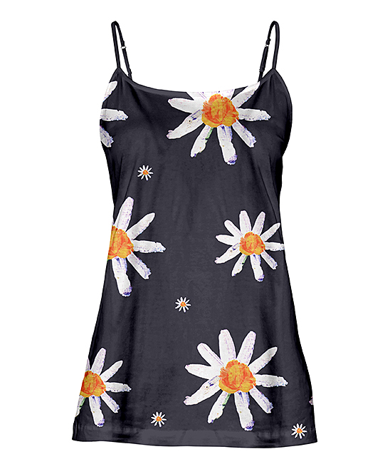 Gray & White Painted Daisies Camisole - Women & Plus