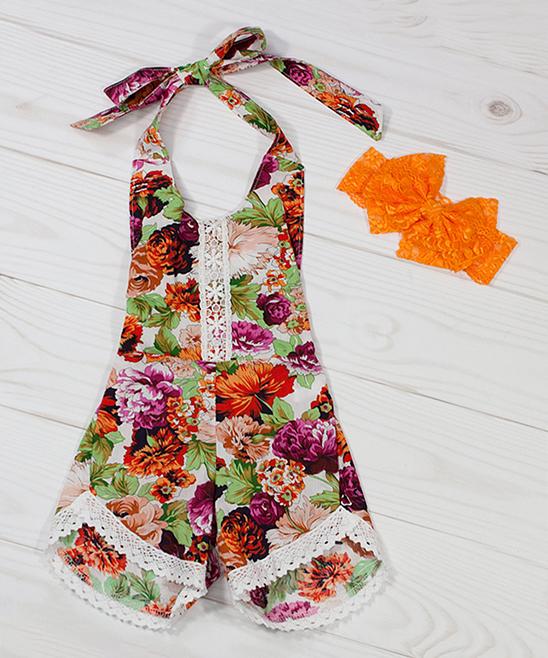 b2fb59caedd Dress Up Dreams Boutique Pink   Green Floral Halter Romper - Toddler ...