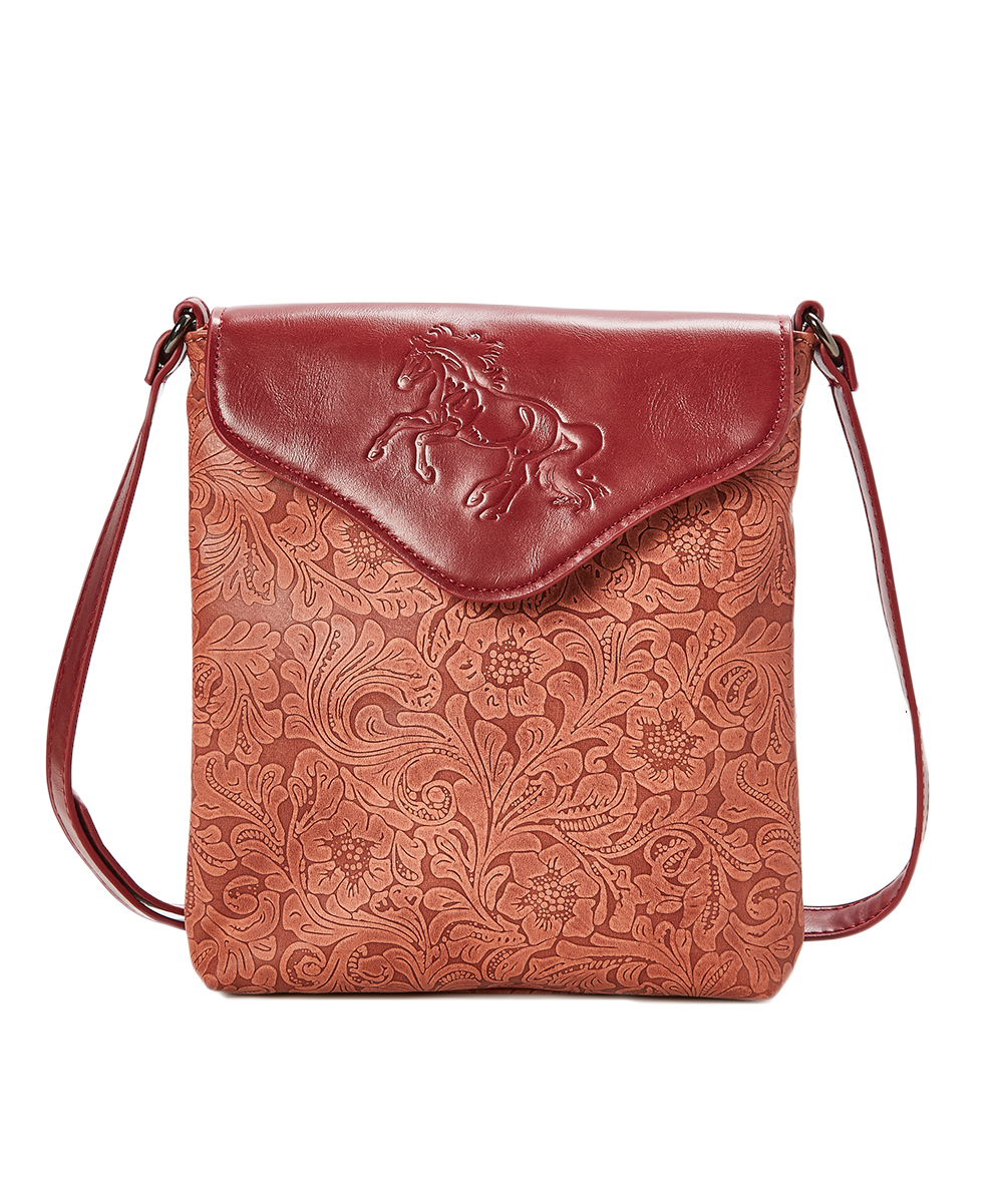 e2007aa8ee AWST INTERNATIONAL Red   Tan Horse-Embossed Crossbody Bag