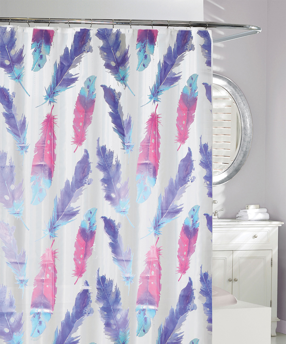 Moda At Home Pink Purple Painted Plume Shower Curtain