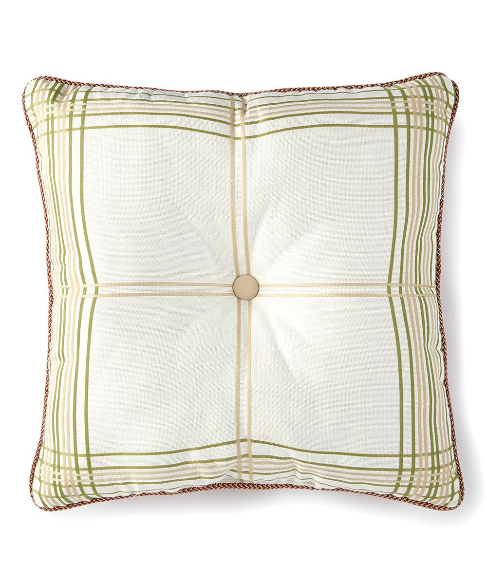 Rose Tree Cream   Green Plaid Lorraine Throw Pillow  8728598496