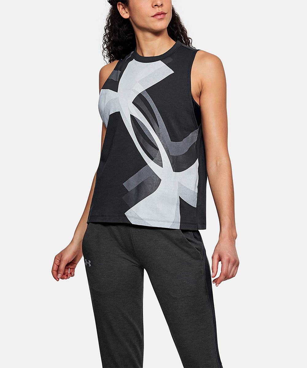 139a7d42 Under Armour® Black Logo Overlay Muscle Tank - Women | Zulily
