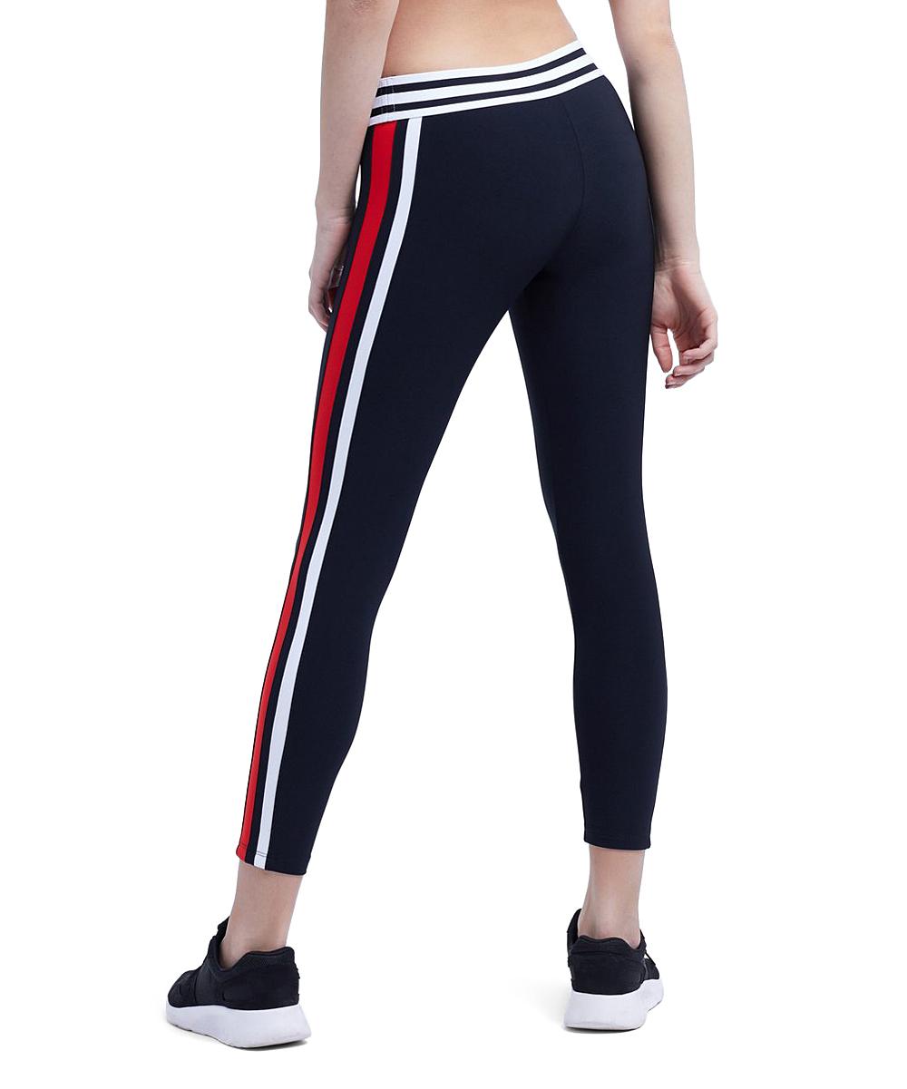 9596e316daf135 ... Womens BLACK/RED/WHITE Black & Red Contrast-Stripe Pace Track Leggings -