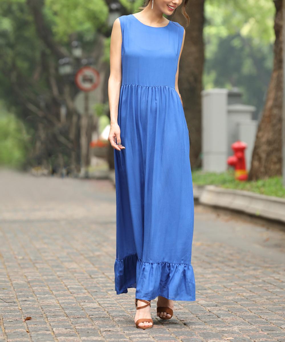 7a7b5c93c132ff Z Avenue Royal Blue Sleeveless Maxi Dress - Women   Plus