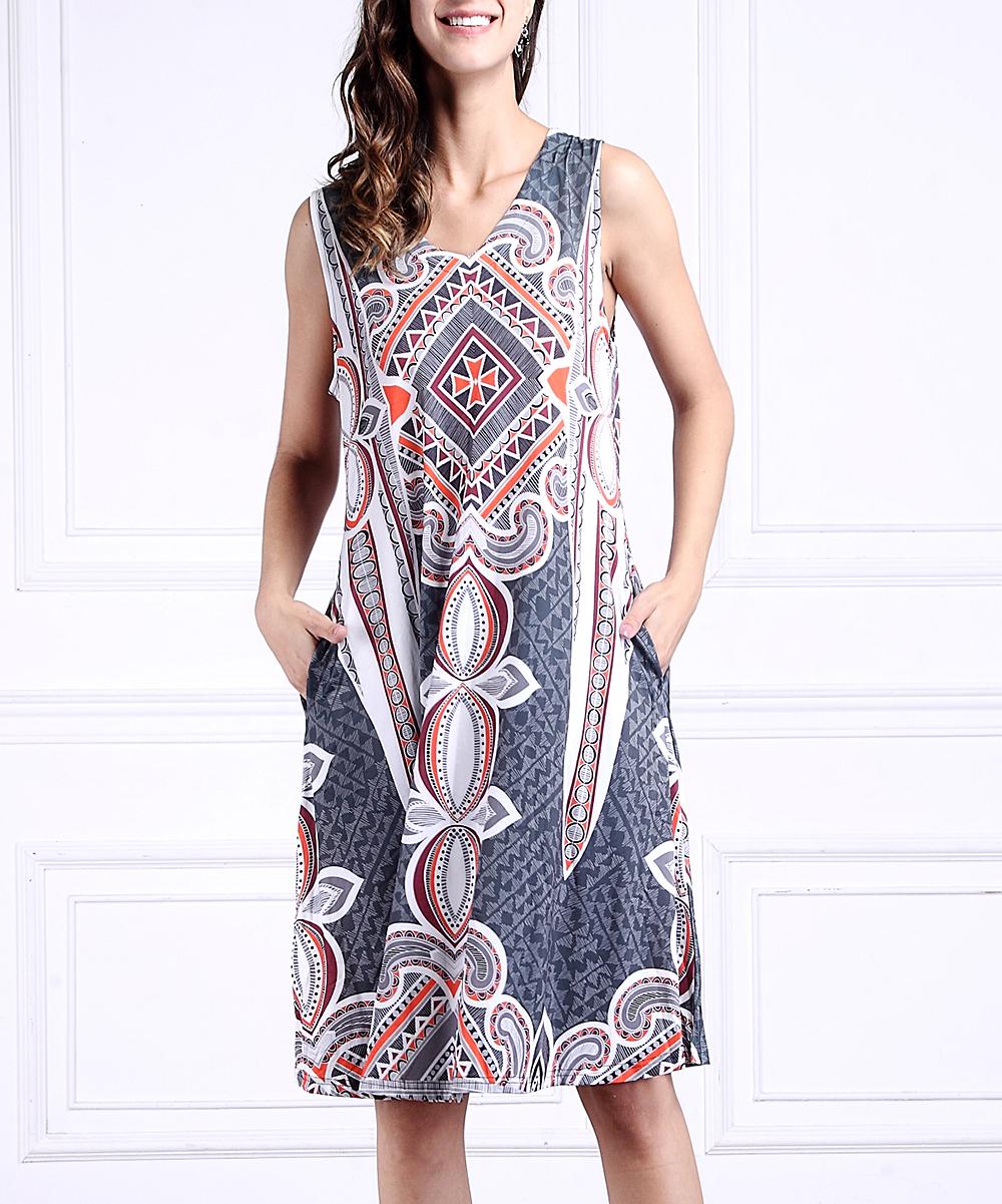 df3c9ab32ffe2 Charcoal   Orange Abstract Sleeveless V-Neck Side-Pocket Dress - Women    Plus