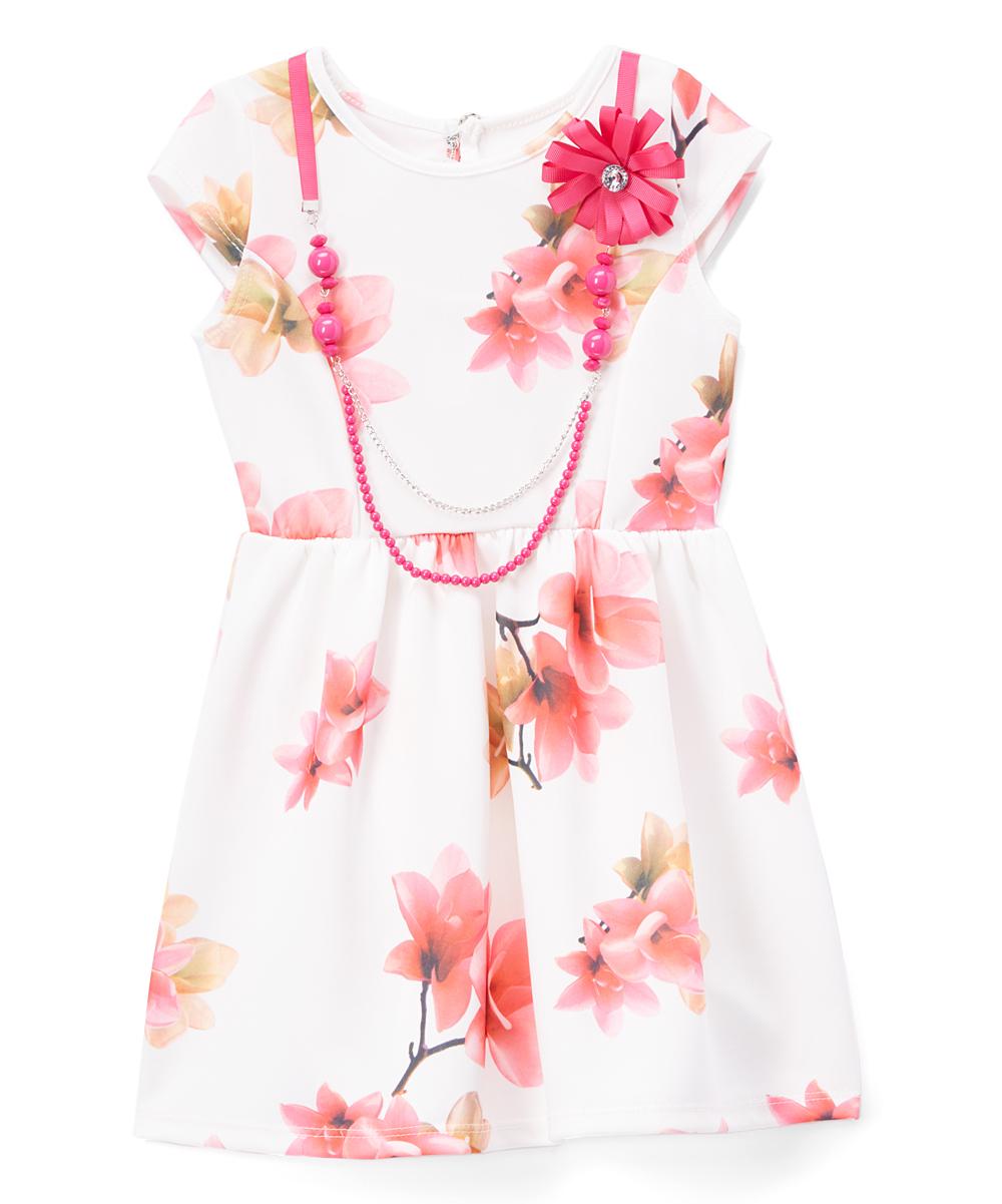 54b73850 Maya Fashion Ivory Floral Dress with Pink Necklace - Girls | Zulily